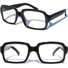 RETRO NERDY Hipster CLEAR LENS GLASSES Squared Rectangular Nerd Black Frame New