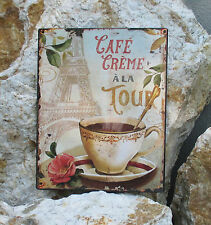 Blechschild Metallschild  Wandbild Schild Eifelturm Cafe Crema a laTour Paris