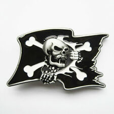 NEW PIRATE FLAG SKULL BOAT CROSSBONES 3-D BELT BUCKLE