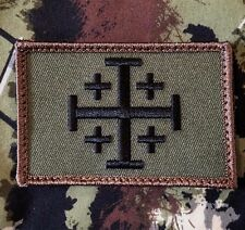 JERUSALEM CROSS CRUSADER JIHAD FOREST TACTICAL HOOK MORALE BADGE PATCH