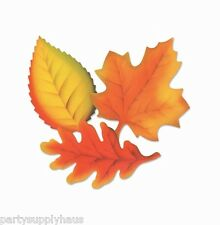 Fall THANKSGIVING Autumn PRINTED leaf LEAVES CUTOUTS (9 COUNT) Party Decorations