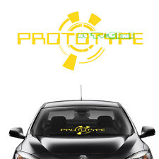(1) Yellow PROTOTYPE Windshield Front Glass Body Car Mugen Vinyl Decal Sticker