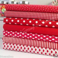 Bundle 7 fat quarters 100% cotton material red variety mix gingham spot 18 x 22""