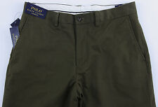 Men's POLO RALPH LAUREN Olive Green Chino Cotton + Pants 36x32 NEW NWT