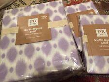 3pc Pottery Barn PB Teen Ikat Dot Duvet Cover Euro Shams full queen f/q Lavender