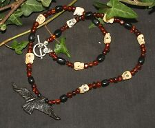 Raven & Baltic Amber and Jet Witches Necklace - For Morrigan - Wicca, witchcraft