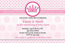 30 Princess Hearts Precious Adorable Baby Shower Invitation Card Pink Crown Girl