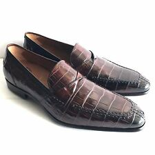 Y-1002325 New Mezlan Crocodile Alligator Skin Loafers Dress Shoes Size 10.5