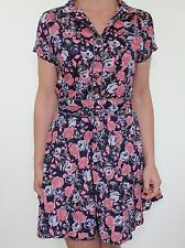 PEPE JEANS navy blue pink rose floral print empire tea shirt dress size XS 8 10