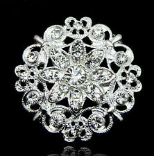 Rhinestone Crystal Diamante Silver Flower Brooch Wedding Bridal Broach Pins New