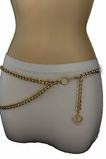 New Women Fashion Belt Hip High Waist Gold Metal Thick Chains Anchor Charm S M L