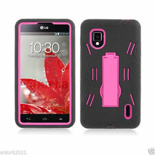 Sprint LG Optimus G LS970 Impact Hard Rubber Case Cover Kick Stand Black Pink