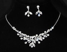 White Gold Plated Zirconia CZ Necklace Earrings Bridal Wedding Jewelry Set 8219