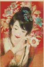 Counted Cross Stitch ORIENTAL LADY w/Flowers - COMPLETE KIT -  No. 3-256 KIT