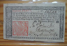 Burlington in New Jersey Colonial Note,  18 Pence March 5, 1776