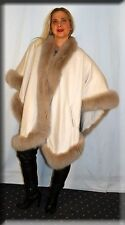 New Vanilla Cashmere Cape Vanilla Fox Fur Trim Efurs4less