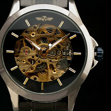 NEW Army Stainless Steel Skeleton Mechanical Wrist Watches Men Relogio Masculino
