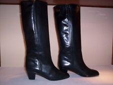 Stivali alti al ginocchio Platone donna boots women tacchi pelle cuoio neri 37