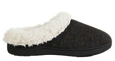 Isotoner Signature Woodlands French Terry Slippers Black MD 7.5-8 NEW