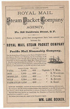 1880s Advertisement Royal Mail Steamship Packet Co William T. Coleman SF CA