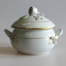 A Herend Golden Edge Porcelain Tureen with Lemon Finial Lid Early Mark
