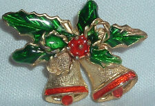 VINTAGE GOLDTONE ENAMELED HOLIDAY CHRISTMAS BELLS BROOCH SASH PIN IN GIFT BOX