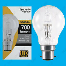 2x 110V 46W=60W Halogen GLS B22 Clear Construction Site Festoon Light Bulb Lamp