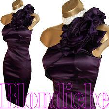 KAREN MILLEN Exquisite PURPLE Satin CORSAGE Rose DRESS UK 14