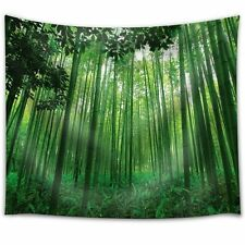 Leaves Framing a Bamboo Forest - Fabric Tapestry- 68x80 inches