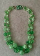 Vintage CHUNKY Hattie Carnegie two strand beaded green necklace, NICE!!