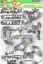 New Penny Black RUBBER STAMP clear Acrylic WET & WILD BIRTHDAY KID  free us ship