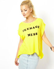 WILDFOX COUTURE TEENAGE MESS YELLOW TEE TOP S 10 6 38 £75!