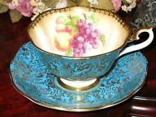 Royal Albert GOLD CHINTZ TURQUOISE & ORCHARD FRUIT Wide Tea Cup and Saucer