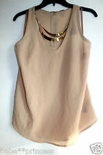 NWT bebe golde embellished neck sheer brown tan dress top racer back S small 4 6