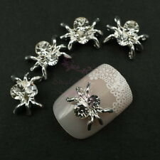 20pcs Silver Plated Clear Rhinestones Spider Alloy Charms Nail Art DIY Decor 3D
