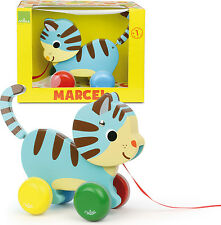 Vilac MARCEL THE CAT PULL-ALONG TOY Baby/Toddler Wooden Animal Walking Pet BN