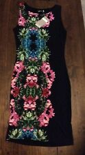 BNWTS John Zack Black Printed Floral Bodycon Fitted Dress Size 8
