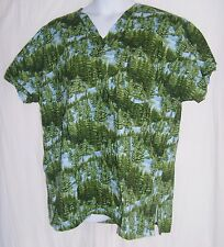 Mad About Scrubs Size 2XL Blue & Green Trees Scrub Top