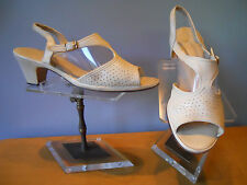 Vintage Red Cross 1960s Nude Cream Perforated Pumps Shoes Sandals Rockabilly Mod