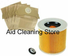 FILTER & DUST hoover BAGS for KARCHER MV2 Wet & Dry Vacuum Cleaner 5BAGS&FILTER