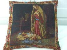 Tapestry Accent Pillow Virgin Mary Mother Madonna Nativity Baby Crib Burgundy