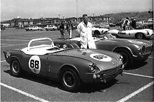 TRIUMPH TR4 SPITFIRE & JAGUAR XKSS 1965 RACERS SAN FRANCISCO PHOTOGRAPH FOTO