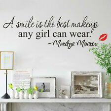 Useful Smile Makeup Art Marilyn Monroe Quote Vinyl Wall Sticker Home Decor Decal