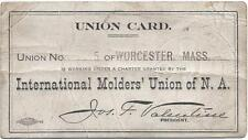1913 International Molders' on N.A. Union Card - Embossed Seal - Worcester, Ma.