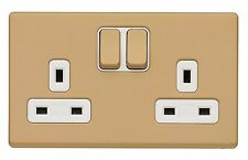 MK Aspect 13A 2 Gang Switched Double Plug Socket Champagne Screwless K24347 CHM