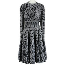 Alaia Velvety Smoke Grey Panther Print Skater Dress Cardigan Twin Set FR40 UK12