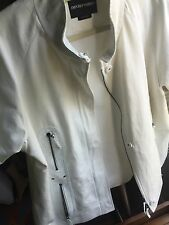 Emporio Armani WhiteJacket With Perforated Leather Details! Nwot Size 42