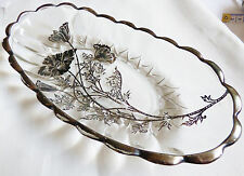 VTG STERLING SILVER CITY ON CLEAR CRYSTAL FLANDERS FLOWERS OVAL BOWL PLATE DISH