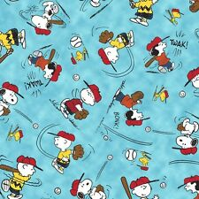 Tossed Charlie Brown on Blue ~ All Stars BaseBall~ cotton fabric Peanuts
