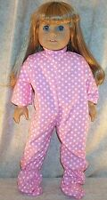 "Doll Clothes fit American Girl 18"" inch Footed Pajamas Stars Pink White New"